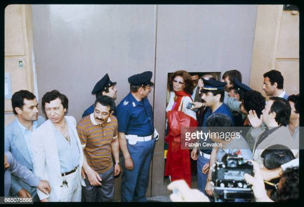 Italian cinema darling Sophia Loren leaves the Naples prison where she has just served 17 days of a 30day sentence for tax fraud