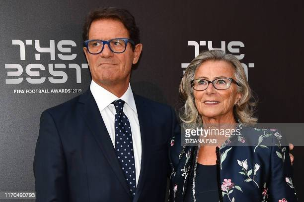 Italian coach Fabio Capello and his wife Laura Ghisi arrive for The Best FIFA Football Awards ceremony on September 23 2019 at Teatro alla Scala in...