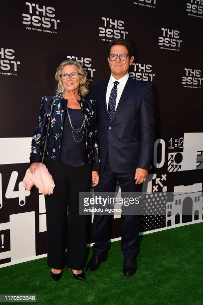 Italian coach Fabio Capello and his wife Laura Ghisi arrive for The Best FIFA Football Awards 2019 at the Teatro Alla Scala on September 23 2019 in...