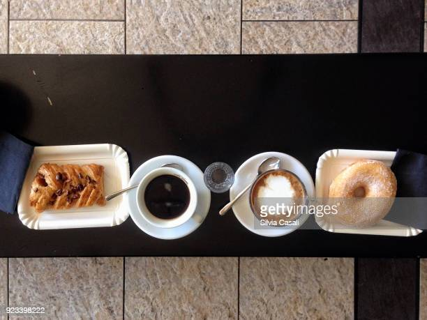Italian coffee and cappuccino with pastries