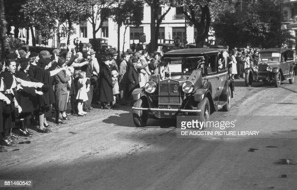 Italian colonists on route to Libya arriving in Genoa October 28 Italy 20th century