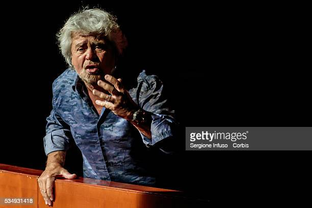 Italian comedian actor blogger and political activist Beppe Grillo performs in 'Grillo Vs Grillo' at Teatro degli Arcimboldi on May 26 2016 in Milan...