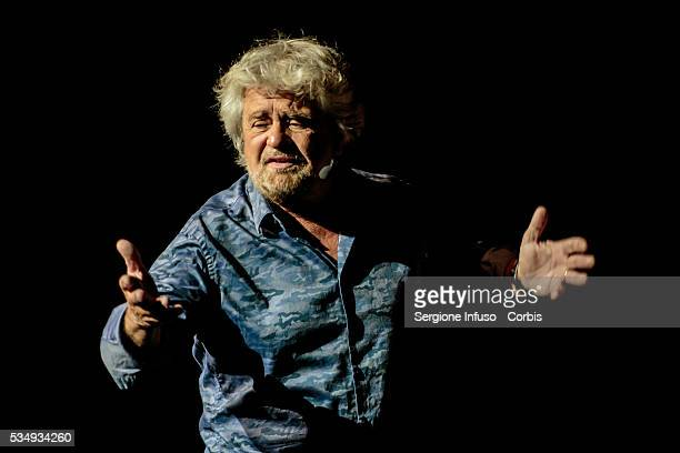 Italian comedian actor blogger and political activist Beppe Grillo performs in 'Grillo Vs Grillo' at Teatro degli Arcimboldi on May 26 2016 in Milan...