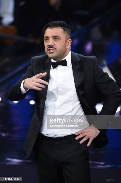 Italian comedian Amedeo Grieco of comedy duo Pio e Amedeo during the second evening of the 69th Sanremo Music Festival. Sanremo , February 6th, 2019