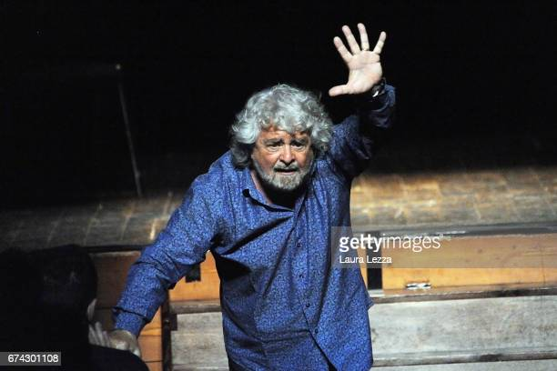 Italian comedian blogger and political leader of the Five Stars Movement Beppe Grillo performs during one of his shows at the Teatro Goldoni on April...