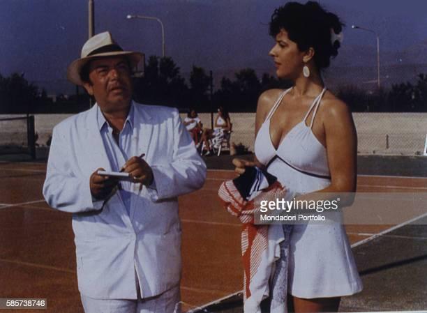 Italian comedian Lino Banfi acting in a scene of the film Il commissario Lo Gatto with Italian actress Licina Lentini as Mrs Belluggi Italy 1987