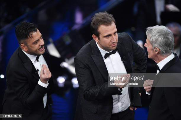 Italian comedian Pio e Amedeo with host Claudio Baglioni at the second evening of the 69th Sanremo Music Festival. Sanremo , February 6th, 2019