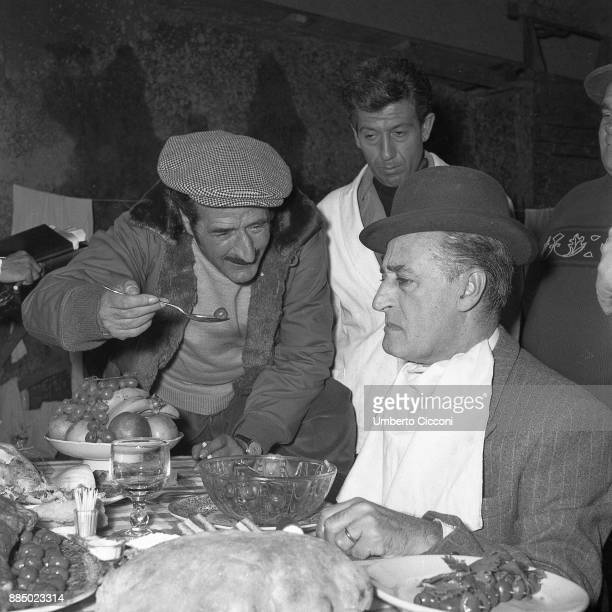 Italian comedian Totò acting in the movie 'Totò Peppino and the outlaws' Italy 1956