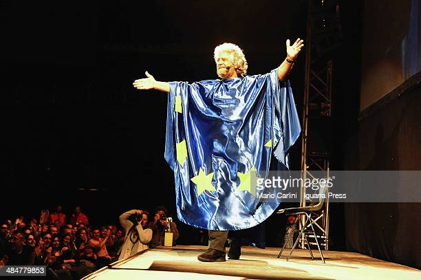 Italian Comedian turned politicia Beppe Grillo performs at Unipol Arena on April 10 2014 in Bologna Italy