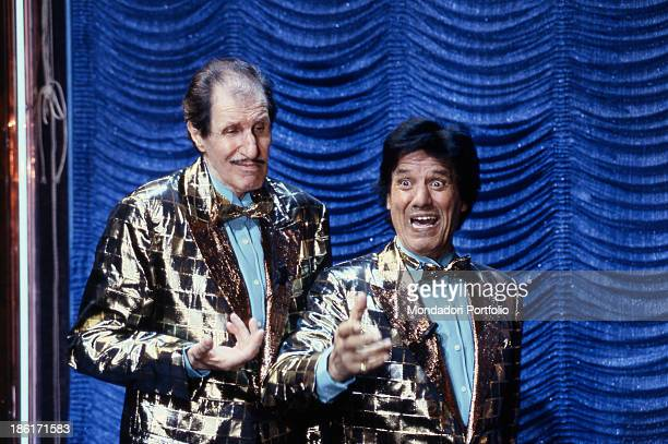 Italian comedians Franco Franchi and Ciccio Ingrassia playing a comic gag in the Tv show Avanspettacolo Italy 1992