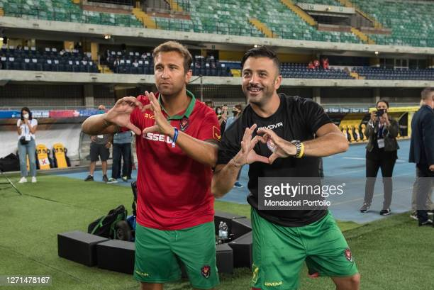 Italian comedians Pio and Amedeo at the Match of the Heart live from the Bentegodi Stadium in Verona with the challenges of the teams led by...
