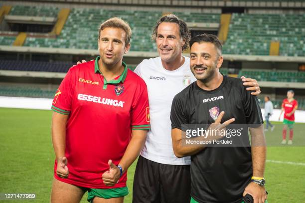 Italian comedians Pio and Amedeo with the former footballer Fabio Galante at the Match of the Heart live from the Bentegodi Stadium in Verona with...