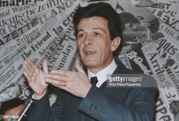 Italian Communist Party politician Enrico Berlinguer pictured addressing a press conference in Rome Italy on 11th April 1972