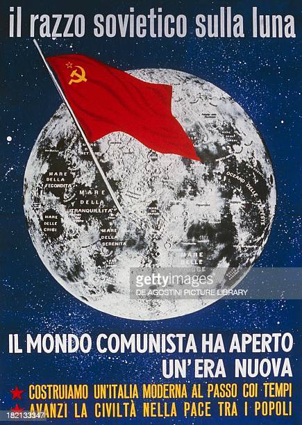 Italian Communist Party poster celebrating the landing of the Soviet space probe Lunik 2 on the Moon September Italy 20th century