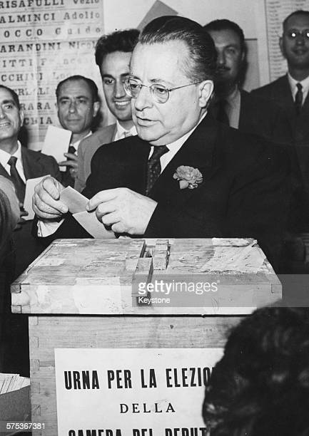 Italian Communist politician Palmiro Togliatti casting in vote in the ballot box during elections Rome June 7th 1953