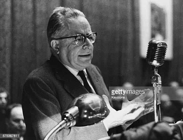 Italian Communist politician Palmiro Togliatti speaking in a theatre in Milan February 23rd 1964