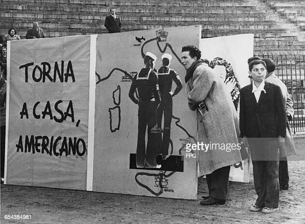 Italian communists campaigning on behalf of the American couple Julius and Ethel Rosenberg who are facing the death penalty after being convicted of...