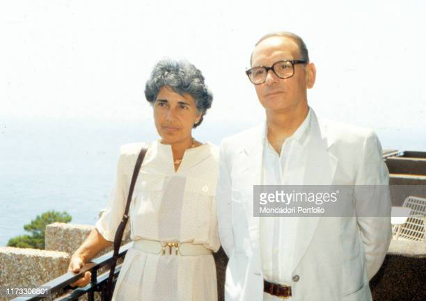 Italian composer and musician Ennio Morricone with his wife Maria Travia 1980s