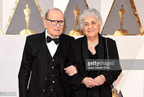 Italian composer Ennio Morricone and his wife Maria Travia attend the 88th Annual Academy Awards at Hollywood & Highland Center on February 28, 2016...