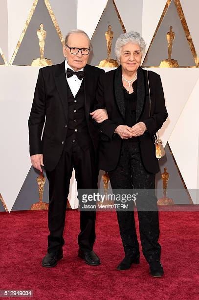 Italian composer Ennio Morricone and his wife Maria Travia attend the 88th Annual Academy Awards at Hollywood Highland Center on February 28 2016 in...