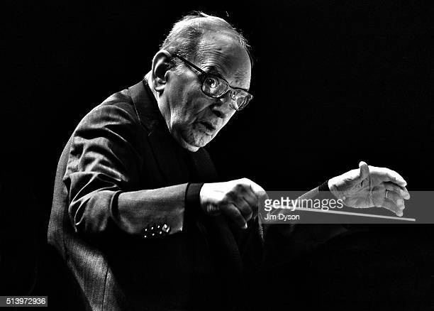 Italian composer Ennio Morricone performs at the O2 Arena on February 16 2016 in London England
