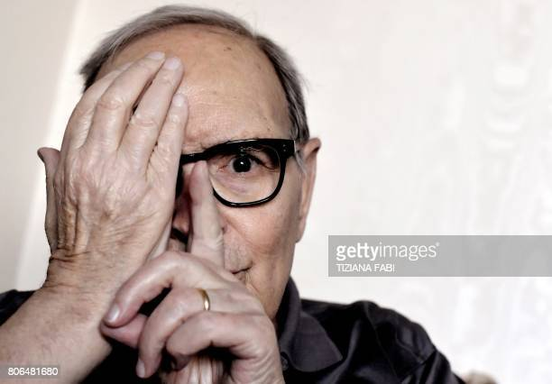 Italian composer Ennio Morricone poses during an interview in Rome on July 3 2017