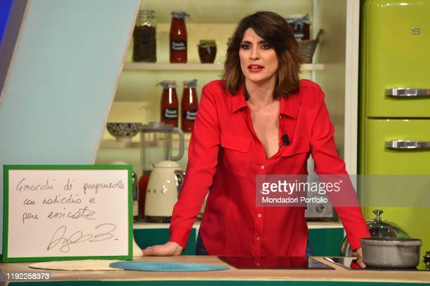 Italian conductor Elisa Isoardi during tv broadcast La prova del cuoco in the Rai studios Dear Rome December 5th 2019