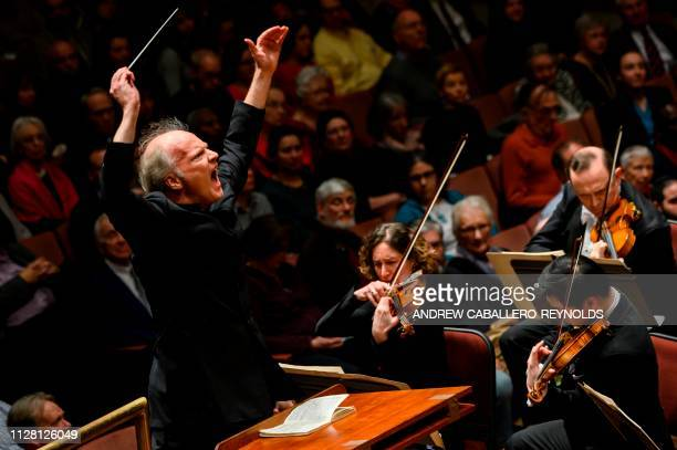 Italian conductor Gianandrea Noseda conducts the National Symphony Orchestra during a concert at the John F Kennedy Center for the Performing Arts in...