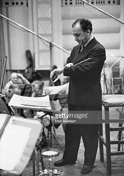 Italian conductor Manno Wolf-Ferrari at St James's, London, 6th March 1958.