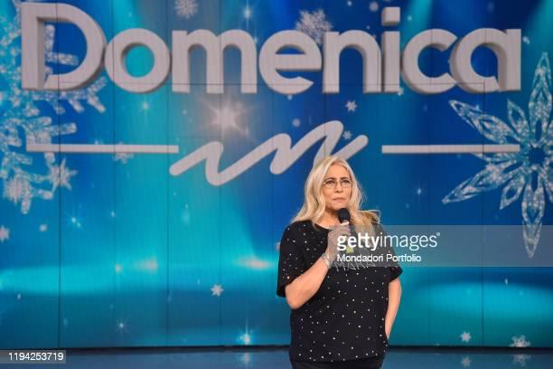 Italian conductor Mara Venier during tv broadcast Domenica In in the Rai studio Dear Rome December 15th 2019