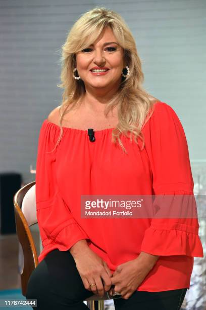 Italian conductor Monica Setta during tv broadcast Uno mattina in famiglia in the Rai studios via Teulada Rome September 21th 2019