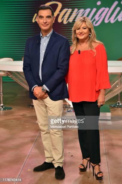Italian conductor Tiberio Timperi and Monica Setta during tv broadcast Uno mattina in famiglia in the Rai studios via Teulada Rome September 21th 2019