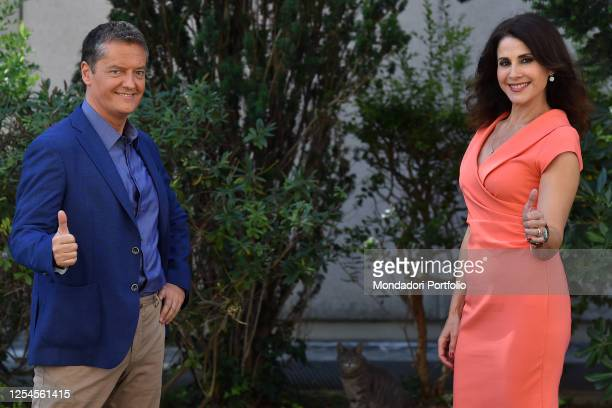 Italian Conductors Alessandro Baracchini and Barbara Capponi attend tv broadcast Uno Mattina Estate photocall in Saxa Rubra Rome July 03rd 2020