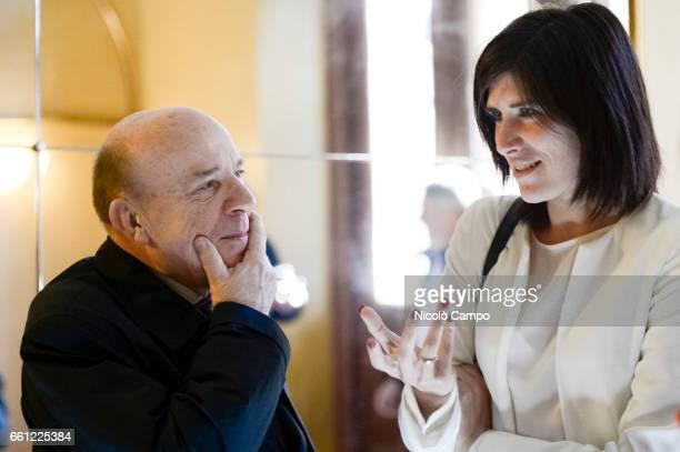 Italian constitutionalist Gustavo Zagrebelsky and Mayor of Turin Chiara Appendino speak prior to an event of 'Biennale Democrazia'