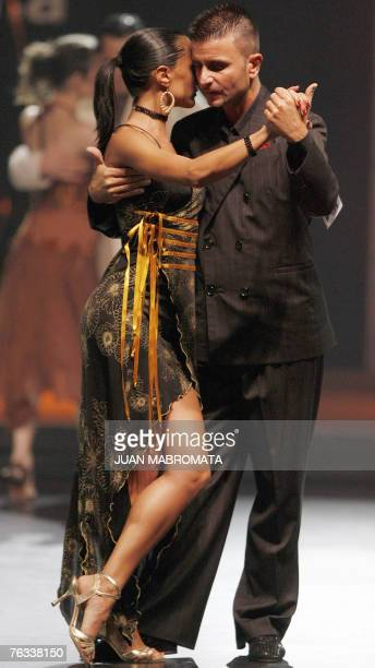 Italian couple Mauro Zampa and Sara Masi dance during the finals of Tango Salon competition of the Fifth Tango Dance World Championship in Buenos...