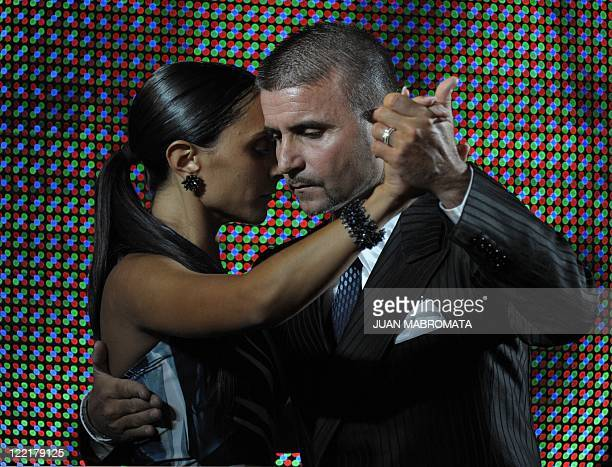 Italian couple Mauro Zompa and Sara Masi dance during the semifinal round of the ballroom tango competition at the 9th Tango Dance World Championship...