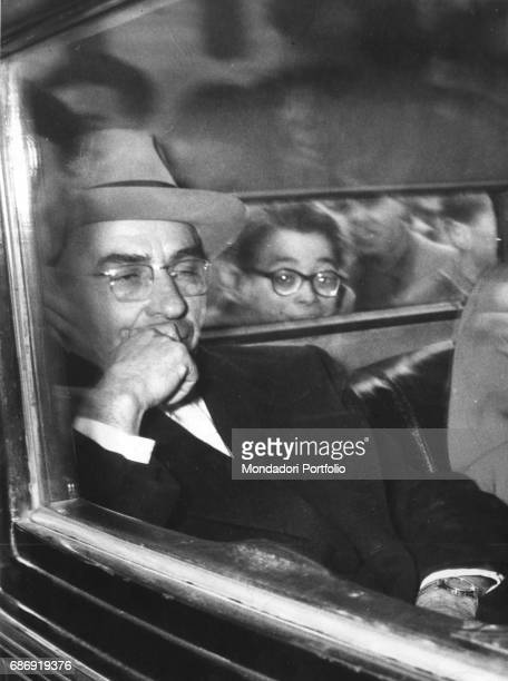 Italian criminal Lucky Luciano in a car after arriving in Naples after being extradited Naples 1946