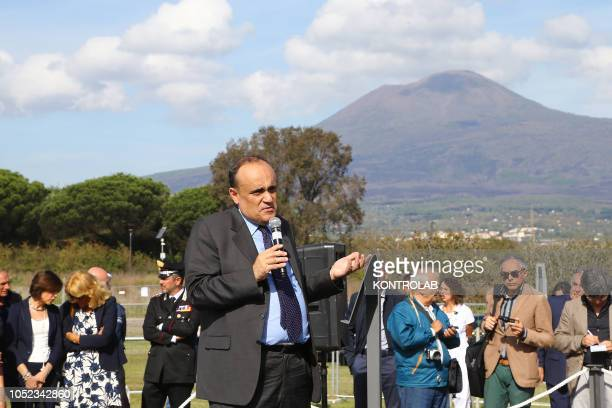 SCAVI POMPEI CAMPANIA ITALY Italian Culture Minister Alberto Bonisoli addresses to media in the House with Garden recently discovered in the Regio V...