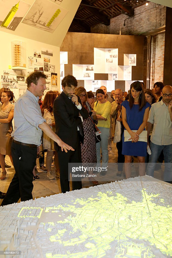 Italian Culture Minister Dario Franceschini with the curator Cino Zucchi attend the official opening of Italian Pavilion at Corderie dell'Arsenale during the opening of The 14th International Architecture Exhibition on June 6, 2014 in Venice, Italy.