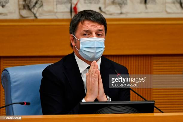 Italian current Senator, former premier and head of the political party 'Italia Viva' , Matteo Renzi gestures as he holds a press conference on...