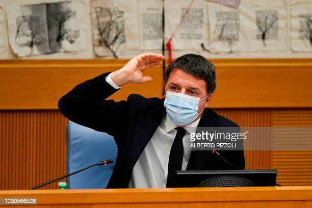 Italian current Senator, former premier and head of the political party 'Italia Viva' , Matteo Renzi holds a press conference on January 13, 2021 at...
