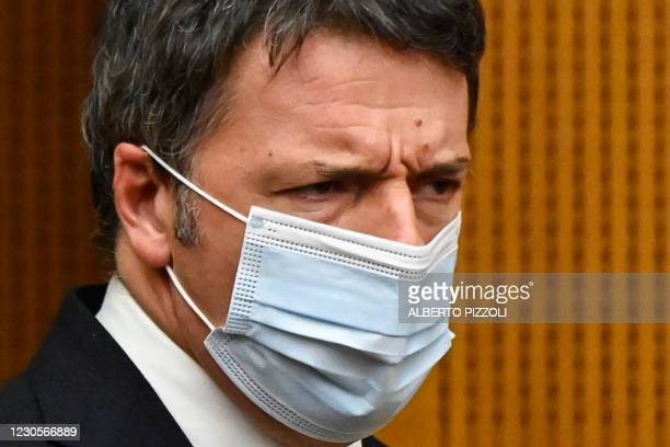 Italian current Senator, former premier and head of the political party 'Italia Viva' , Matteo Renzi arrives to hold a press conference on January...