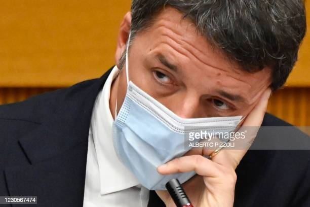 Italian current Senator, former premier and head of the political party 'Italia Viva' , Matteo Renzi ponders as he holds a press conference on...