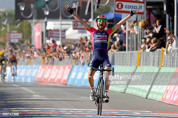 Italian cyclist Diego Ulissi of Lampre Merida celebrates as he crosses the finish line at the end of the fourth stage during the 99th Giro d'Italia...
