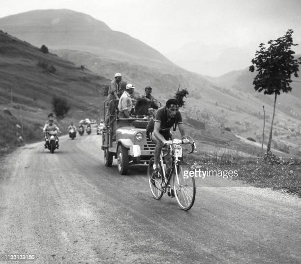Italian cyclist Fausto Coppi makes his effort in the climb of Alpe d'Huez on July 4 during the 10th stage LausanneAlpe d'Huez of the Tour de France...