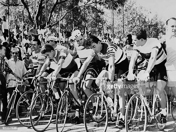 Italian cyclist Fausto Coppi takes part in a cycling race in Ouagadougou Burkina Faso in December 1959 Fausto Coppi one of the most famous cyclist in...