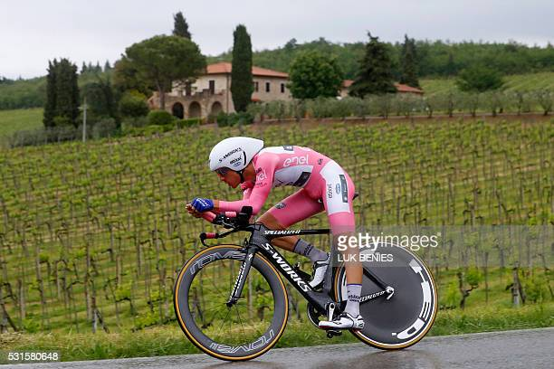 Italian cyclist Gianluca Brambilla of Etixx Quick Step team cycles during the 9th individual time trial stage of 99th Giro d'Italia Tour of Italy...