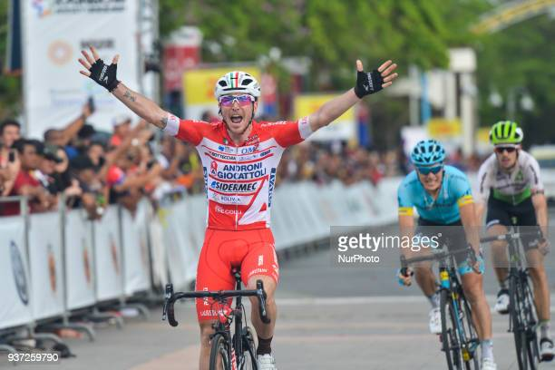Italian cyclist Manuel Belletti from Androni Giocattoli Sidermec Team wins the seventh stage, the 222.4 km from Nilai to Muar, of the 2018 Le Tour de...