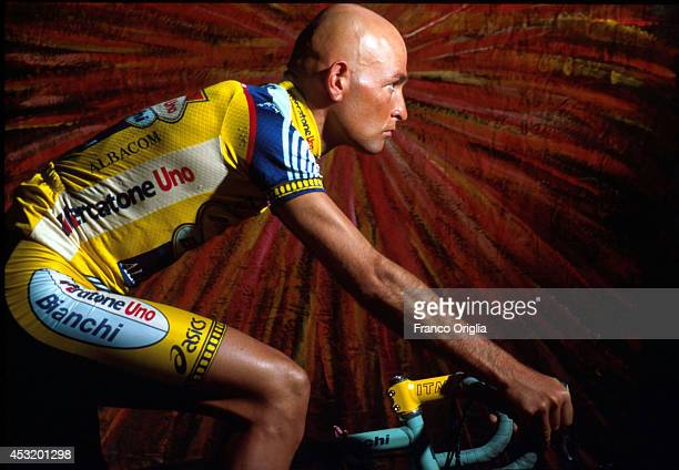 Italian cyclist Marco Pantani, Tour de France and Giro d'Italia race winner in 1998, poses on June 12, 1998 in Milan, Italy. Pantani was found dead...