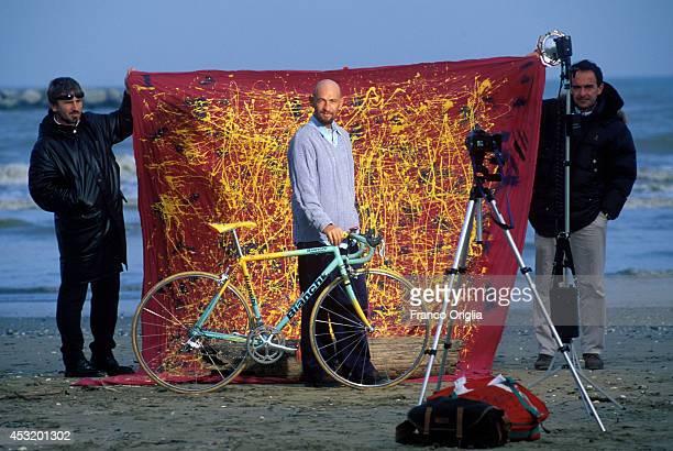 Italian cyclist Marco Pantani, Tour de France and Giro d'Italia race winner in 1998, poses at the Cesenatico's Beach on November 8, 1998 in...